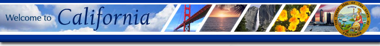 Welcome to California - images of Golden Gate Bridge, ocean sunset, waterfall, flowers,�and city skyline